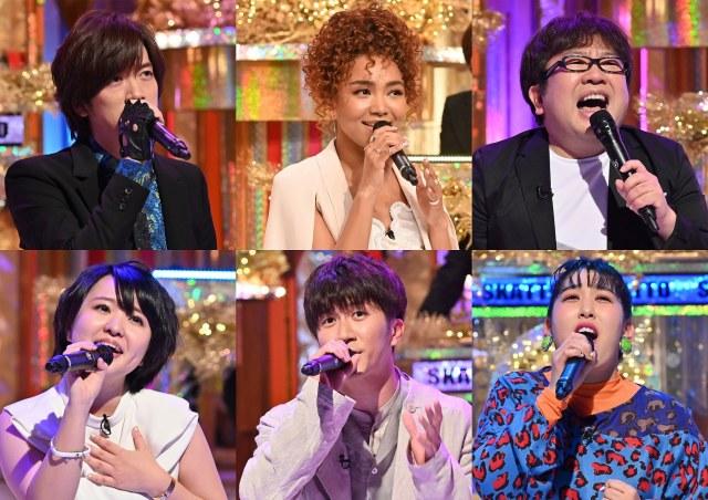 12日放送の『スカッとカラオケ!日本の名曲VS最新曲SP』に出演する(上段左から)DAIGO、Crystal Kay、天野ひろゆき(下段左から)さくらまや、濵田崇裕、ゆめっち(C)フジテレビの画像