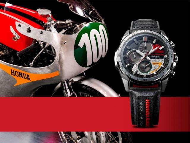 """5月15日に発売となる、高機能メタルウオッチ""""EDIFICE(エディフィス)""""より『Honda Racing』とのコラボレーションモデル第5弾『EQW-A2000HR』の画像"""