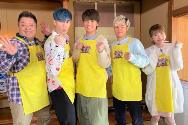 5月6日放送『まんぷくダービー』に出演する(左から)小杉竜一(ブラックマヨネーズ)、ジェシー(SixTONES)、森本慎太郎(SixTONES)、那須川天心、もえのあずき (C)TBSの画像