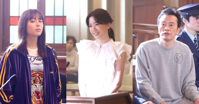 月9ドラマ『イチケイのカラス』第4話に出演する(左から)広瀬アリス、永野芽郁、遠藤憲一(C)フジテレビの画像