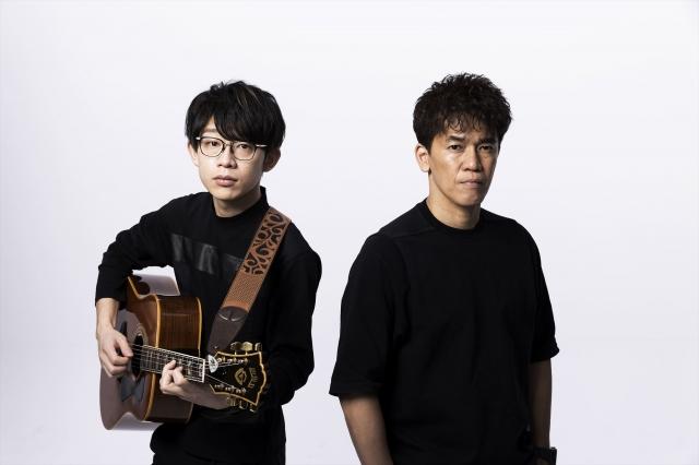 コロナ禍で武井壮(右)が呼びかけ、「♯スポーツを止めるな #音楽を止めるな」アスリートが歌いつなぐ応援ソングをブレイク中のミュージシャン・川崎鷹也(左)と制作中の画像