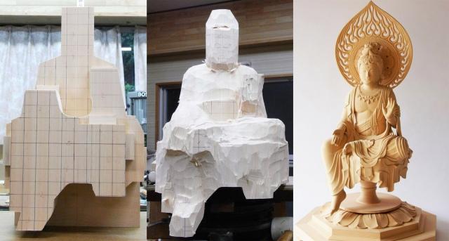 ツッコミ殺到? 三浦耀山さん(@biwazo)による仏像制作過程(写真:本人提供)の画像