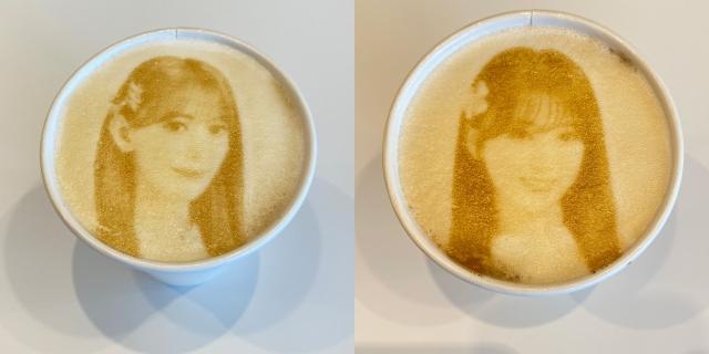 HKT48カフェで展開される宮脇咲良(左)と矢吹奈子のラテアート(C)SoftBank HAWKSの画像