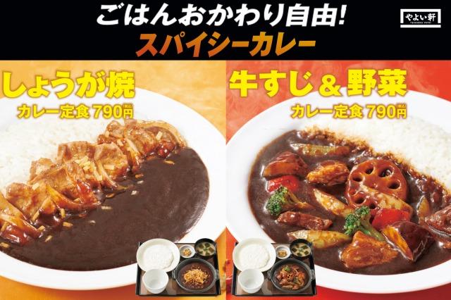 やよい軒よりライスおかわり自由な『カレー定食』2種が新登場の画像