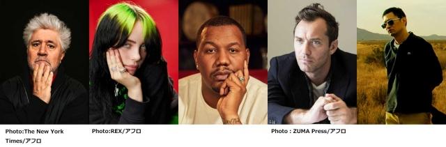 新設された「Global Spotlight Award」ノミネート作品関係者(左から)ペドロ・アルモドバル監督、ビリー・アイリッシュ、トレイボン・フリー、ジュード・ロウ、ウォン・カーウァイの画像