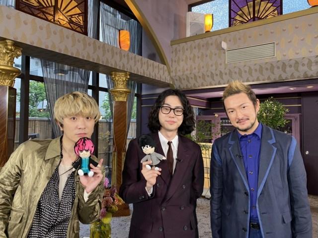 映画『キャラクター』で共演した菅田将暉(中央)、Fukase(左)、中村獅童(右)が6月6日放送のフジテレビ系『ボクらの時代』に出演。その収録時のオフショットの画像