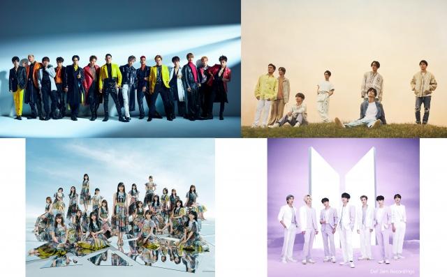 6月14日放送『CDTVライブ!ライブ!』に出演する(上段左から)EXILE、三代目 J SOUL BROTHERS from EXILE TRIBE(下段左から)乃木坂46、BTSの画像