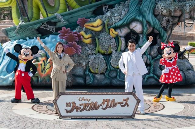 映画『ジャングル・クルーズ』声優発表セレモニーに出席した(左から)ミッキーマウス、木村佳乃、斉藤慎二、ミニーマウスの画像