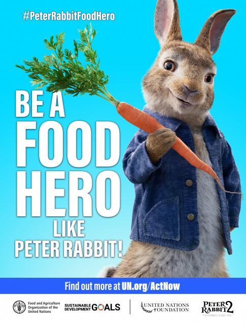 サステイナブルな食料環境をめざして、「ピーターラビットのようにフードヒーローになろう!」と呼びかけるキャンペーンビジュアルの画像