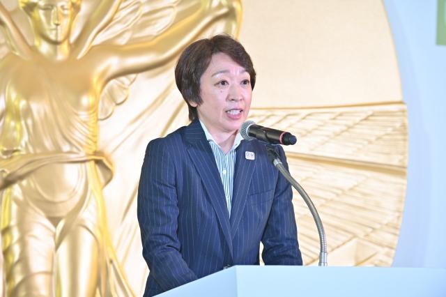 『オリンピック・スピリット展』会見に出席した橋本聖子会長の画像