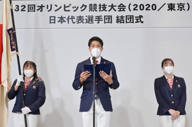 『第32回オリンピック競技大会』日本代表選手団の主将を務める山縣亮太選手(C)JOCの画像
