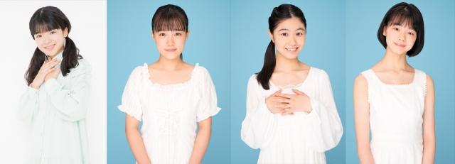 つばきファクトリーの新メンバー(左から)豫風瑠乃(13)、河西結心(17)、八木栞(17)、福田真琳(16)の画像