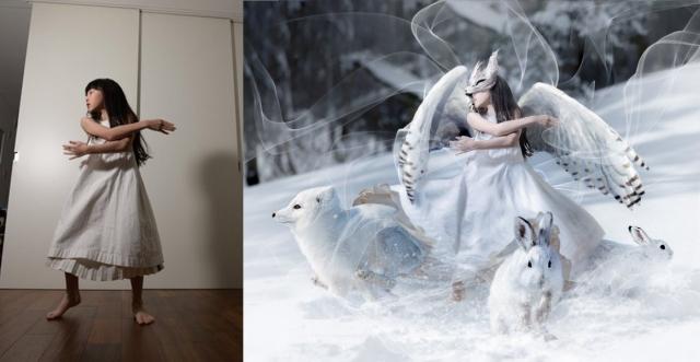 娘さんの夢を叶えたKogameさんのレタッチ写真(右)加工前(左)加工後の画像