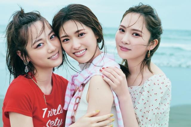 『CanCam』9月号に登場する坂道三姉妹(左から)山下美月、松村沙友理、加藤史帆の画像