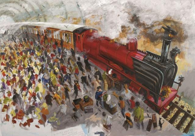 ジム・ケイ《 『ハリー・ポッターと賢者の石』の9と3/4番線の習作》 ブルームズベリー社蔵 (C)Bloomsbury Publishing Plc 2015の画像