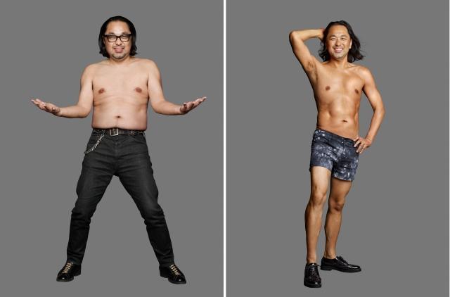5ヶ月で16.2キロ減量に成功したマッコイ斉藤のビフォー(左)・アフター(右)の画像
