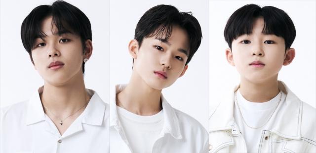 次世代K-POPボーイズグループ発掘オーディション『LOUD』でデビューを射止めた日本人3人(左から)アマル(15)、ケイジュ(14)、コウキ(12)の画像