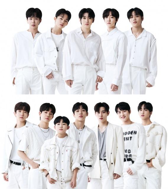 JYPデビューメンバー(上)とP NATIONデビューメンバー(下)の画像