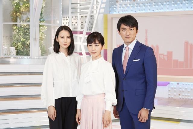 テレビ朝日『スーパーJチャンネル』10月からメインキャスターは松尾由美子(中央)、小松靖(右)、森川夕貴(左)の3人が担当 (C)テレビ朝日の画像