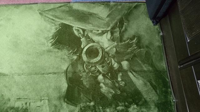 絨毯に描かれた『ルパン三世』の次元大介(写真提供:あぎとぅさん)の画像