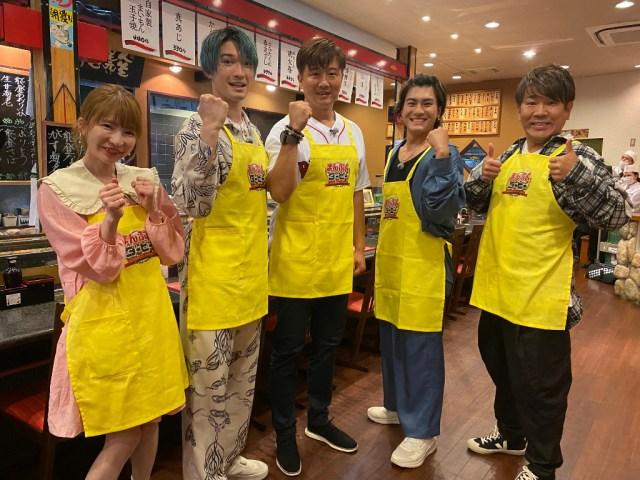 『まんぷくダービー』に出演する左からもえのあずき、ジェシー(SixTONES)、岡島秀樹、森本慎太郎(SixTONES)、藤本敏史(FUJIWARA) (C)TBSの画像