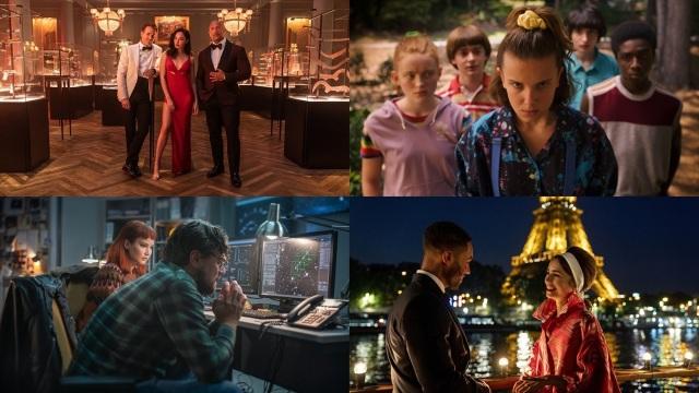 Netflixの注目作品=映画『レッド・ノーティス』(左上)、映画『ドント・ルック・アップ』(左下)、『ストレンジャー・シングス 未知の世界』(右上)、『エミリー、パリへ行く』(右下)の画像