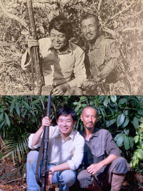 実際に撮影された小野田寛郎さん(右)と鈴木紀夫さん(左)の写真(上)映画『ONODA一万夜を越えて』で津田寛治(右)と仲野太賀(左)が再現した場面写真の画像