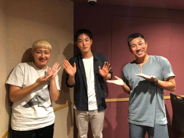 10日放送のラジオ番組『丸園音楽堂』に出演する(左から)丸山桂里奈、池坊専宗、前園真聖の画像