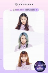 『Girls Planet 999 : 少女祭典』事前投票で各グループ1位となった(上から)ヒュニン・バヒエ、スー・ルイチー、坂本舞白(C)CJ ENM Co., Ltd, All Rights Reservedの画像