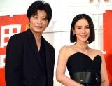 映画『総理の夫』初日舞台あいさつに登壇した(左から)田中圭、中谷美紀 (C)ORICON NewS inc.の画像