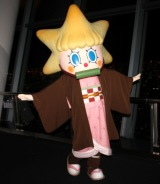 ソラカラちゃん、鬼化? 禰豆子の衣装でポーズ 『鬼滅の刃』コラボでファンお出迎え